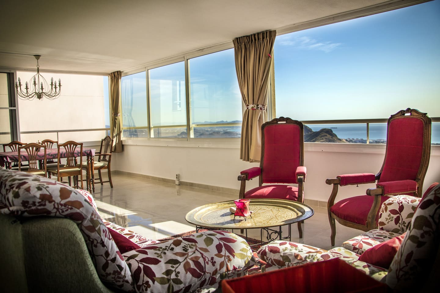 This is our lovely living a dining room with a splendid panoramic view