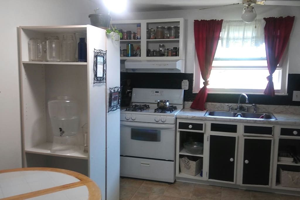 Shared Full Kitchen but Private Area for Food Kitchen Table Seats 3.