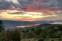 View of Penticton and Okanagan Lake from viewing platform, 2 min walk from cabin