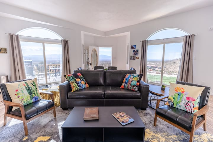 Great room has views of the valley and mountains!