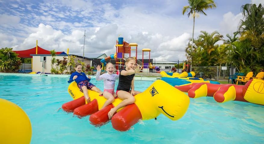 Kurrimine Beach has a large swimming pool and water park.   This is about a 5-minute walk from the Fishing Haven.  The park runs two sessions a day - 10am - 12pm and 2pm - 4pm and costs just $5 per person.