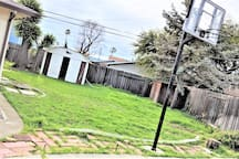 The photos of the yard was taken before,  have not been updated yet, as the yard is in the process of landscaping