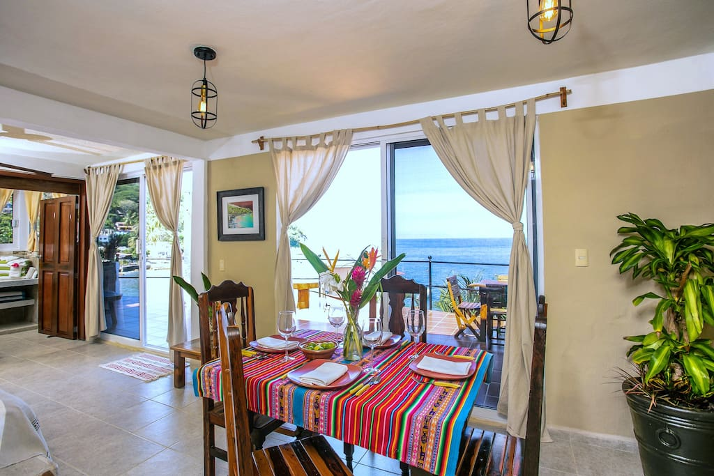 Double sets of sliding glass doors to the patio outside let in lots of light.