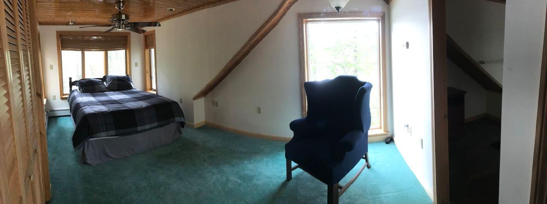master bedroom upstairs pano view