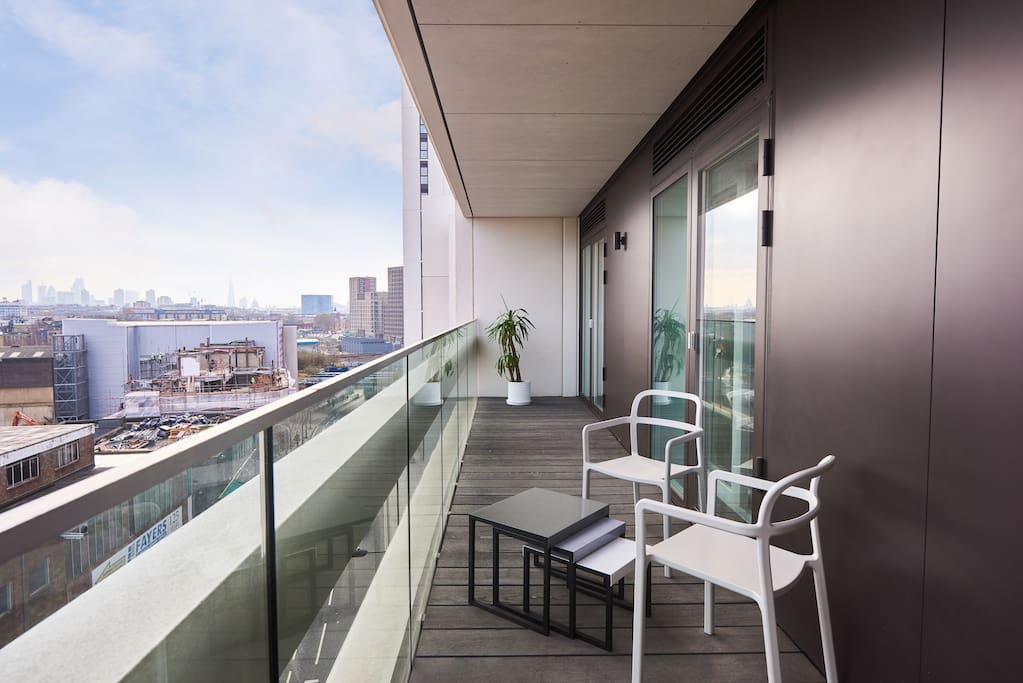 Relax on the spacious balcony and enjoy great views of the city
