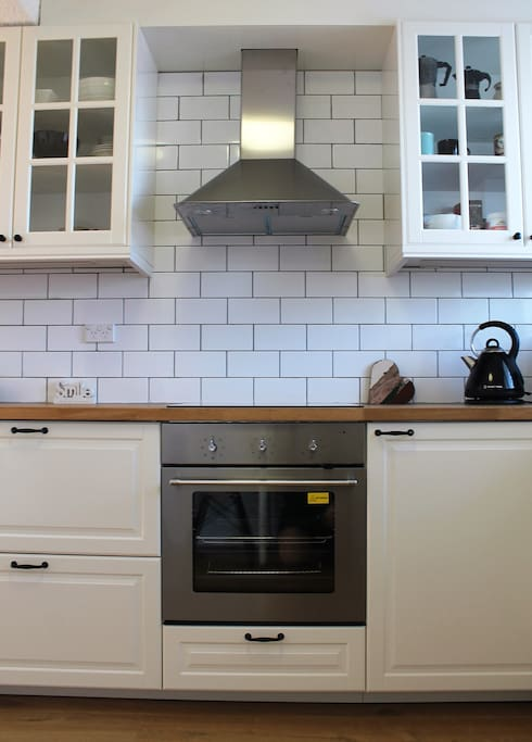 The beautiful kitchen is a delight to cook in