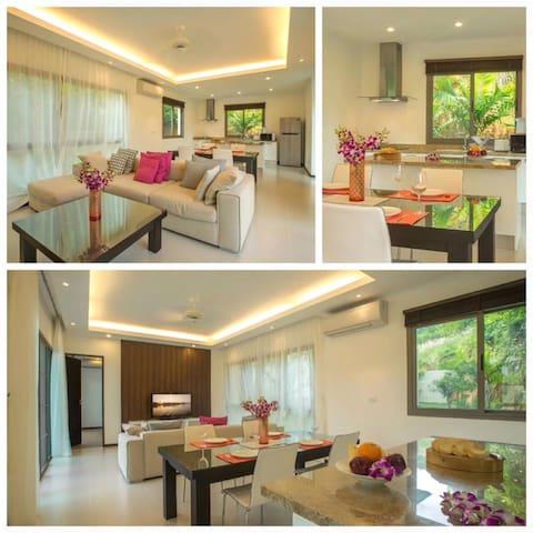 普吉岛三卧室独栋私人泳池豪华网红别墅 靠近拉威海滩 奈汉海滩