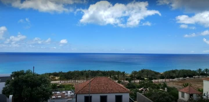 Studio in Vila Baleira, with wonderful sea view, shared pool and furnished balcony - 400 m from the beach