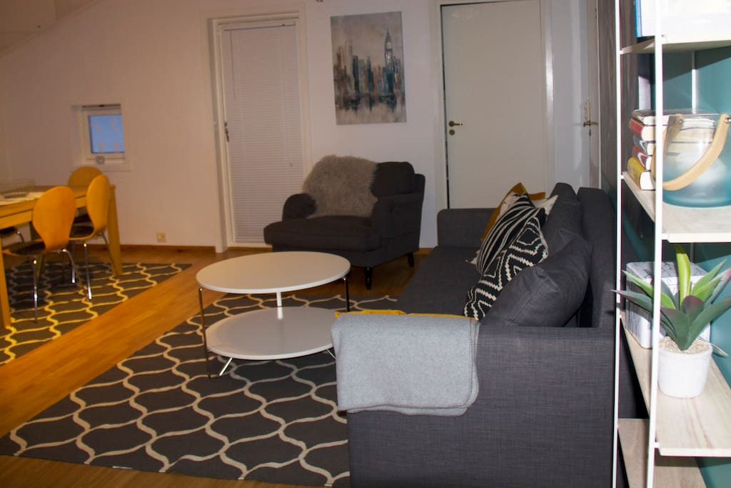 The living room is large and has a  sofa that folds out into a double bed. There is an extra bed that can be placed in the living room for a fifth person. //  Das Wohnzimmer ist groß und der Sofa ist ein Schlafsofa. Es gibt ein extra Bett, das ins Wohnzimmer für eine fünfte Person aufgestellt werden kann.