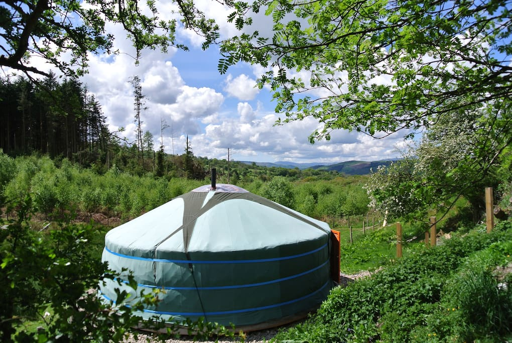 Our authentic Mongolian yurt (ger) Ty Crwn Mawr with the view South West out towards Snowdonia and Arenig Vawr