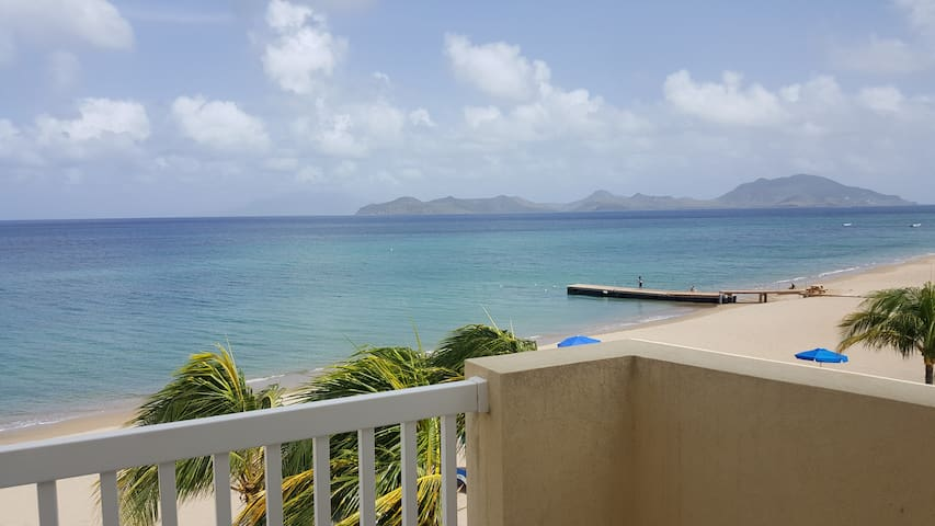 Master bedroom porch view of sister island St.Kitts