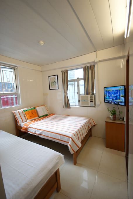Triple room 606 double bed + single bed windowed with private bathroom