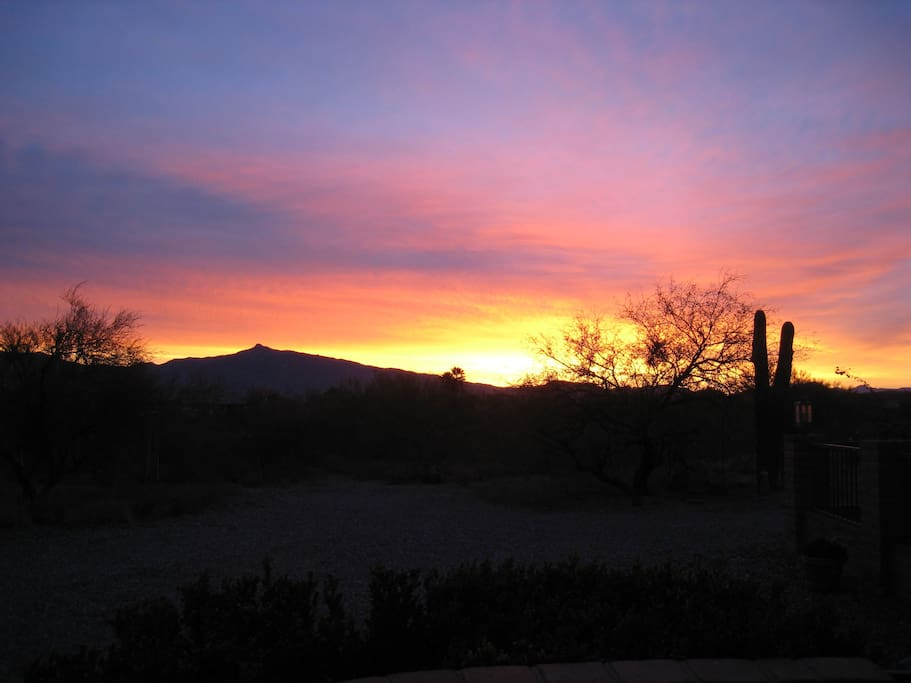 Spectacular sunset from the property