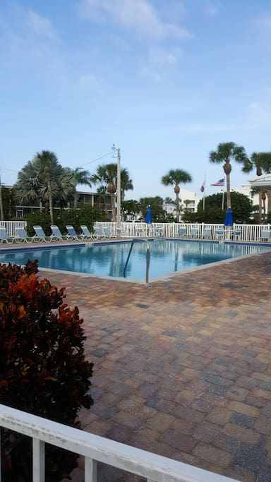Heated pool - access at neighboring property.  Offers onsite restrooms and seating