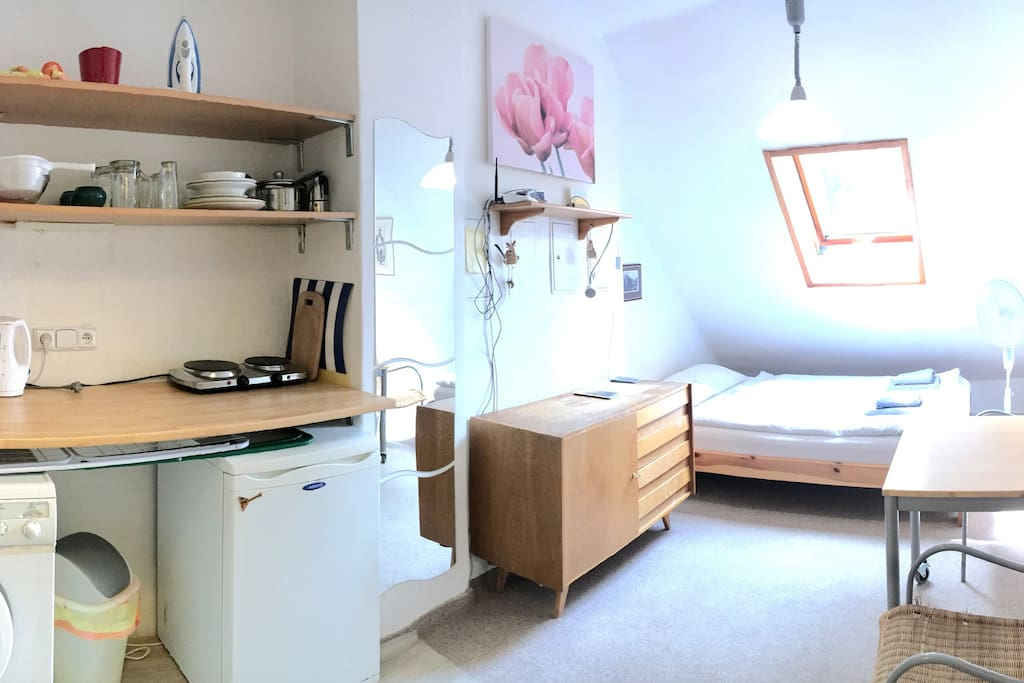 Well equipped studio for two in immediate neighborhood of Czech Technical University campus. Washer, fridge, stove and small, but private bathroom at your disposal.