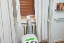 AC unit for the bedroom, silent and effective. Keep bedroom door shut for maximum cool.