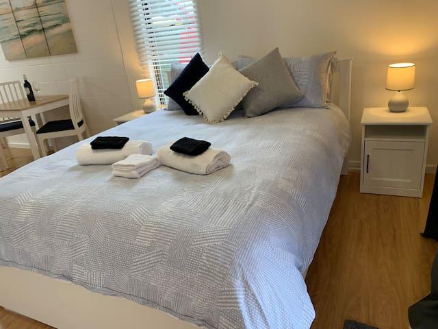 Luxurious sleeping space. Premium mattress and bed linen.
