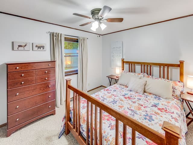 Sleep soundly in the comfortable bed w new bedding & wake to light filtering through the linen curtains. Bedlamps contain two phone charging ports and one iPhone cable.