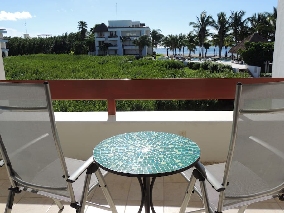 Comfortable seating and  ocean views perfect for morning coffee!
