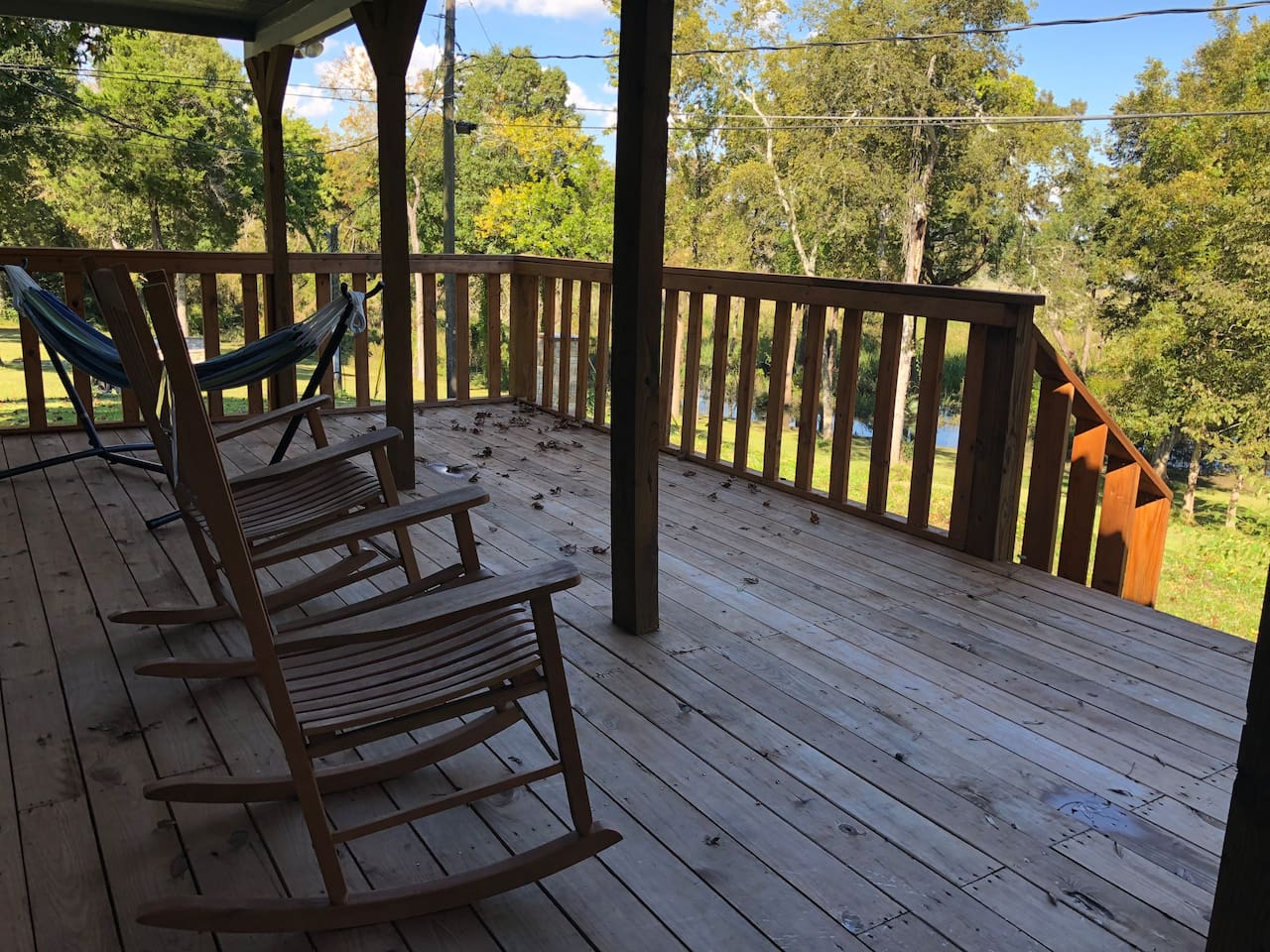 Rocking chairs and Hammock on Back Deck