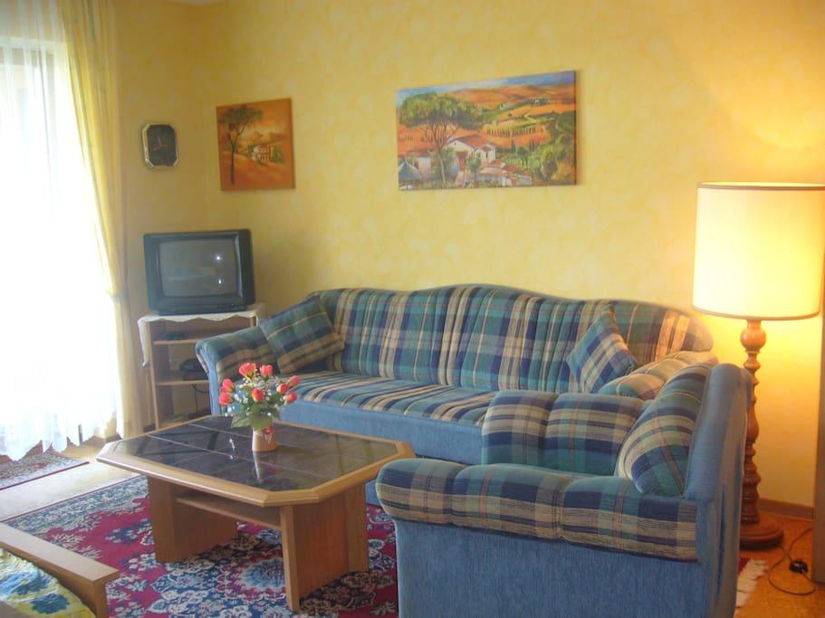 Gemütliche Couch + Sessel Jetzt: Flachbild - Sat-TV!
