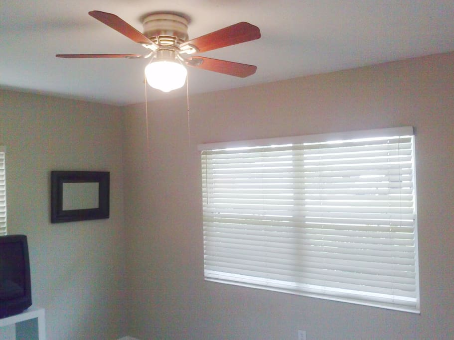 Large windows and ceiling fan