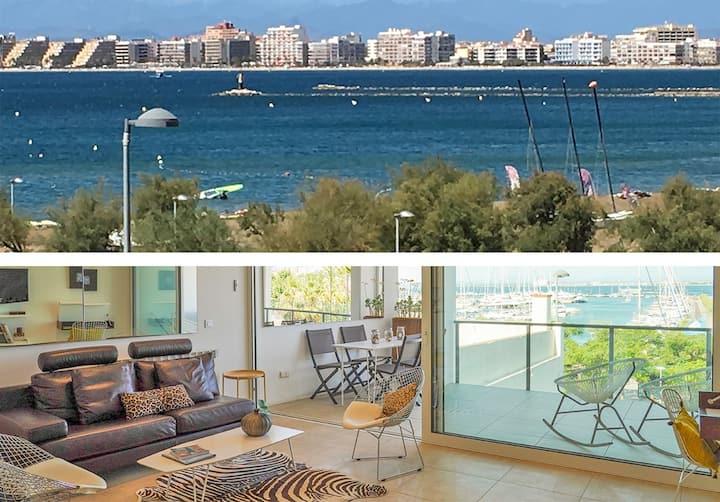 Rosas Port:Fabuloso 100m2,vista mar,park,clim.