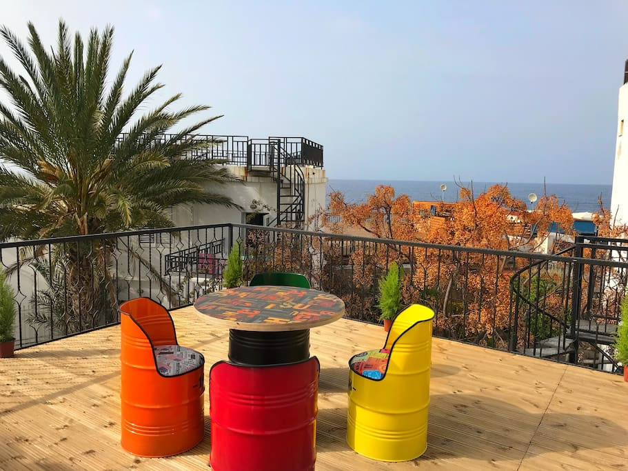 Private terrace with stunning panoramic view included church sea castle mosque and mountain!
