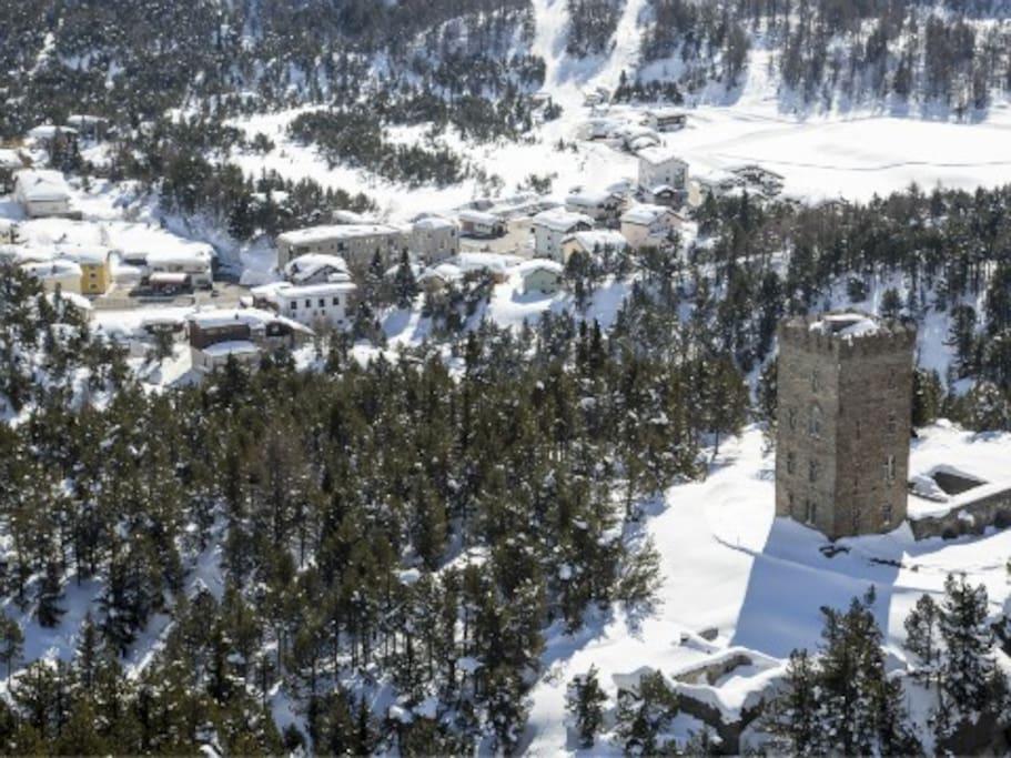Panoramica di Maloja in inverno