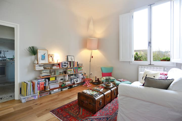 Living room with an interesting international library