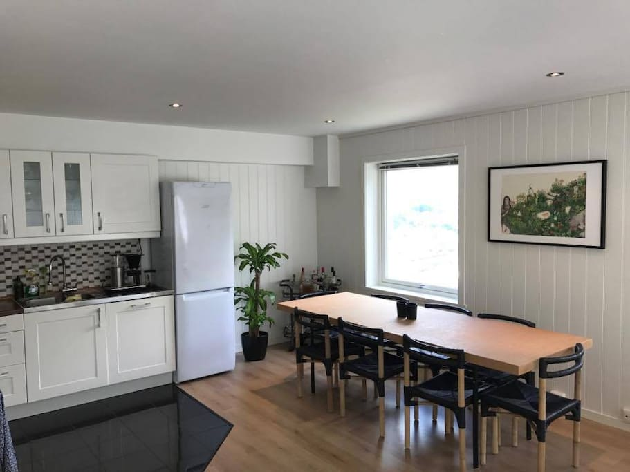 Big dining table. The kitchen and living room is in the same room. The kitchen has a stove, refrigerator, microwave, dishwasher, coffee machine and other kitchen machines.