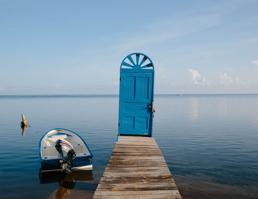 The Blue Door with our Blue Boat