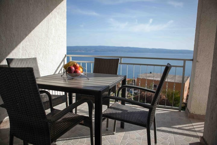 Two bedroom apartment with terrace and sea view Suhi Potok, Omiš (A-11574-a)