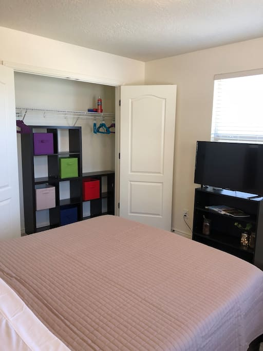 The Window Room's large, double-door closet can easily fit two guests' clothing and luggage.