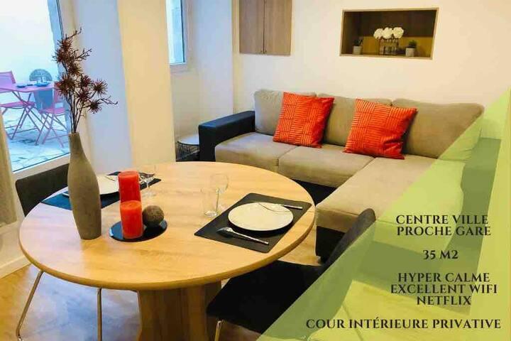 Superbe appartement centre ville + cour privative