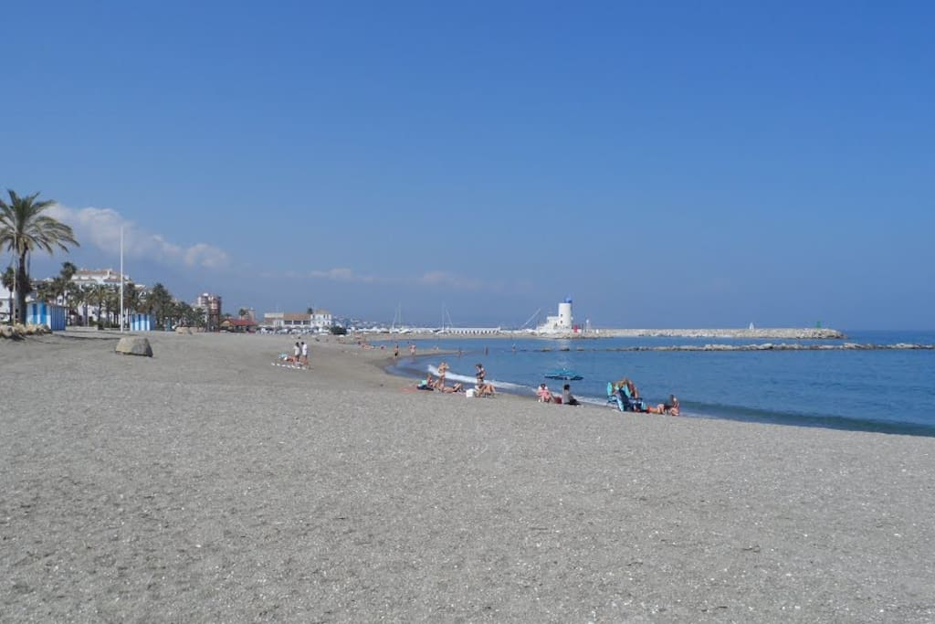 one of the nearby beaches, a two-minute walk away