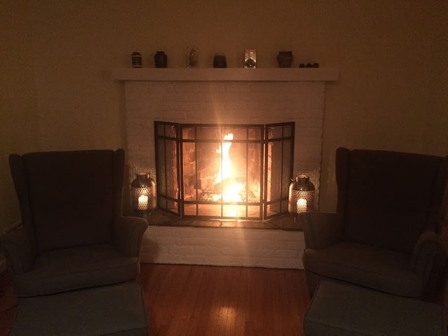 Fireplace in use -- perfect for cooler days/nights!