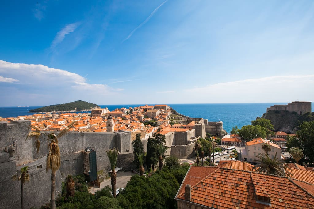 View of the Old Town Dubrovnik and sea view