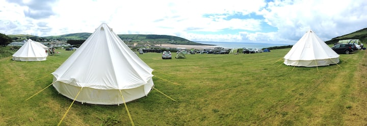 Seaside Themed Bell Tent overlooking Croyde Beach