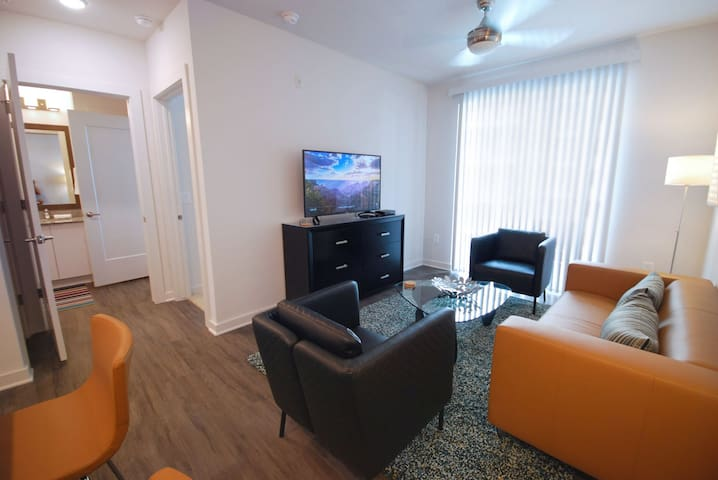 Spectacular Spectrum Suites - Luxury One Bedroom Furnished Apartment - Contemporary Open Kitchen and Living Room