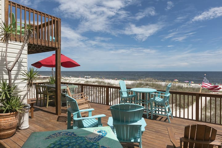 Gulf-front home w/ outdoor living space & private beach access, dogs OK!