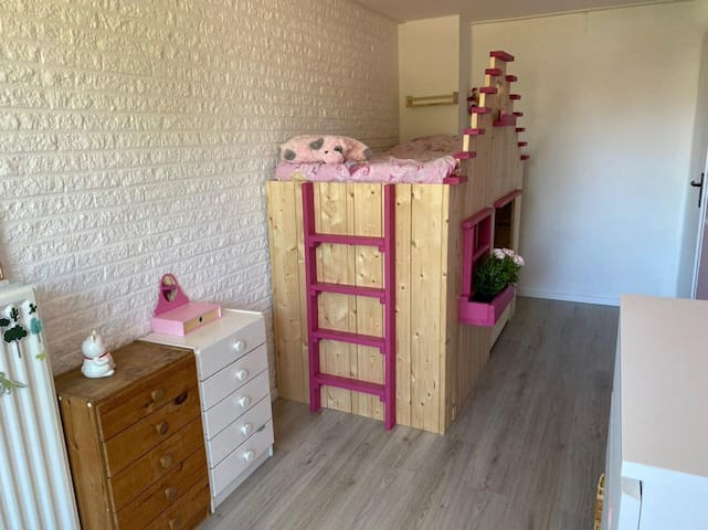 The bunk bed with 2 adult-sized beds