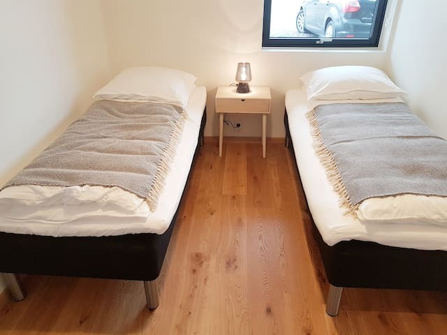 Very comfortable single beds. Can also be pushed together.