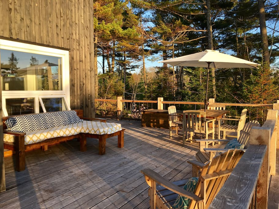 Lots of outdoor seating on the deck
