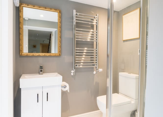 Shower room - it's compact and nice and warm with underfloor heating