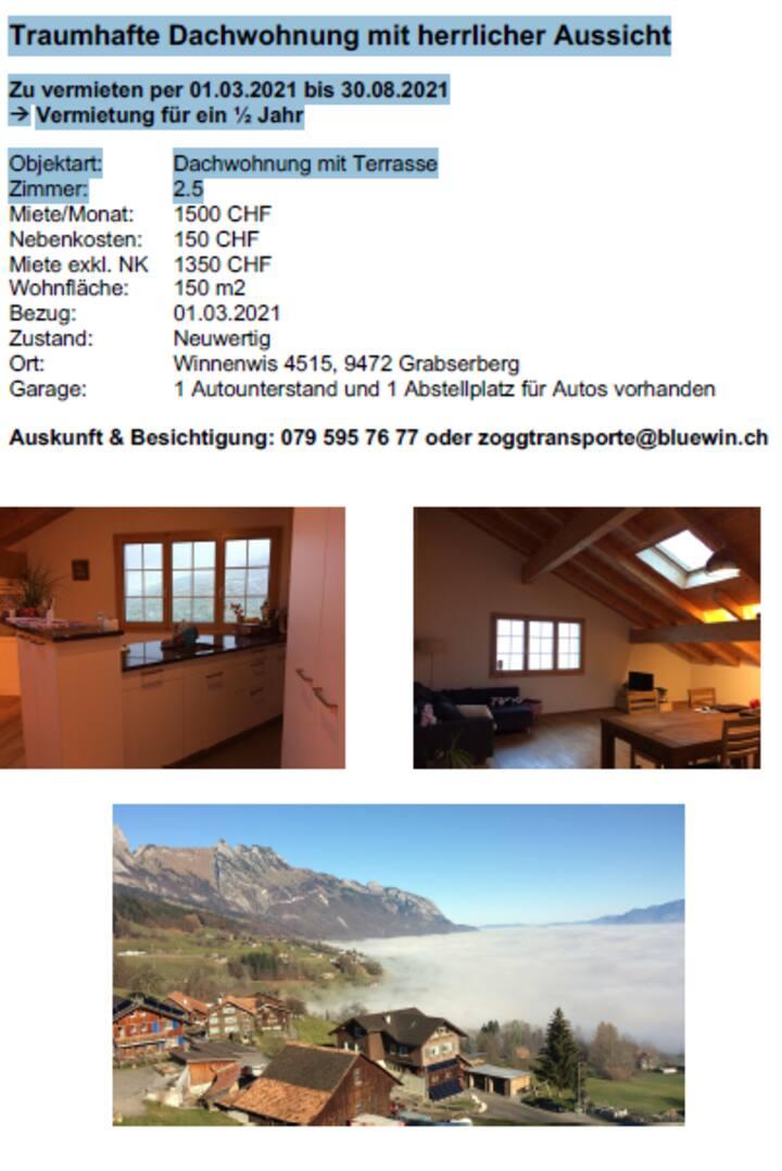 Traumhafte Wohnung  mit Terrasse am Grabserberg