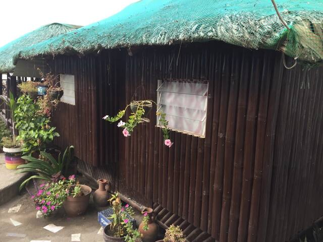 Rustic Air-conditioned Bamboo Beach KUBO for four.