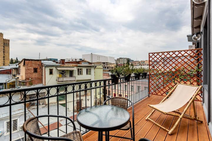 ✧1BR apt w. Furnished terrace 2 min. from Liberty Square✧