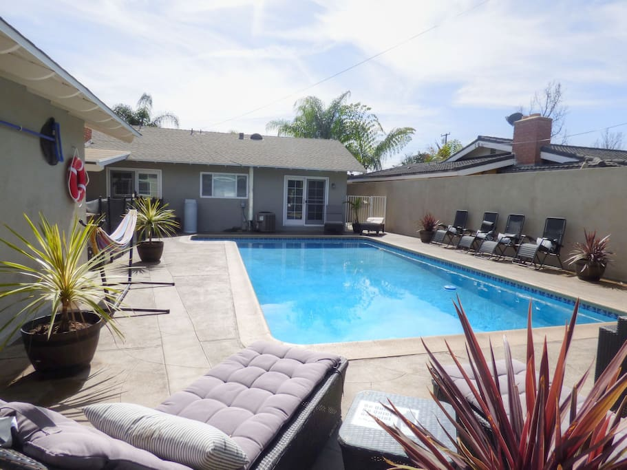 Large, heated pool with plenty of seating and full pool bathroom.