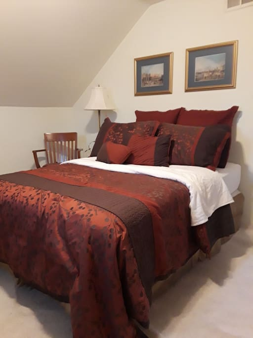 Comfortable full bed, new dressing,& cervical pillow available